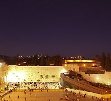 Panoramic night view of the Wailing Wall, Jerusalem.  by PhotoStock-Isra