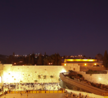 Panoramic night view of the Wailing Wall, Jerusalem.  Sticker