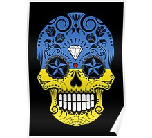 Sugar Skull with Roses and Flag of Ukraine Poster