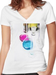 Chemical flasks in Industrial Chemistry Laboratory Women's Fitted V-Neck T-Shirt