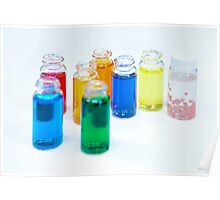 Glass bottles with coloured liquid at a Cosmetics manufacturer Poster