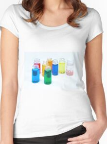 Glass bottles with coloured liquid at a Cosmetics manufacturer Women's Fitted Scoop T-Shirt