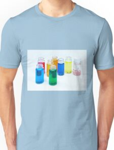 Glass bottles with coloured liquid at a Cosmetics manufacturer Unisex T-Shirt