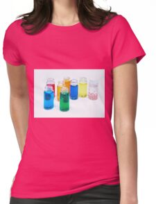 Glass bottles with coloured liquid at a Cosmetics manufacturer Womens Fitted T-Shirt