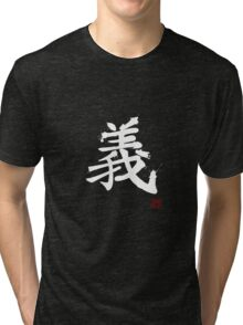 Kanji - Righteousness in white Tri-blend T-Shirt