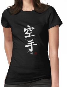 Kanji - Karate in white Womens Fitted T-Shirt