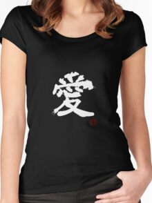 Kanji - Love in white Women's Fitted Scoop T-Shirt