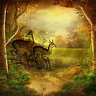 FAWN FAMILY IN FOREST by Tammera