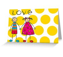Boy + Girl = Love on Yellow Dots Greeting Card