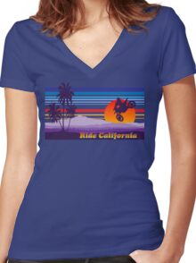 Ride California Women's Fitted V-Neck T-Shirt