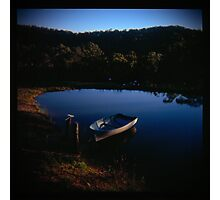 Holga madness.... little boat and reflection in daniland Photographic Print