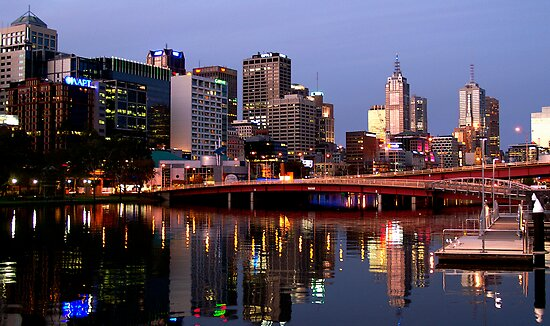 Melbourne City lights by Rosina  Lamberti