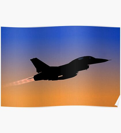 Silhouette of an Israeli Air Force F-16B Fighter jet at dusk Poster