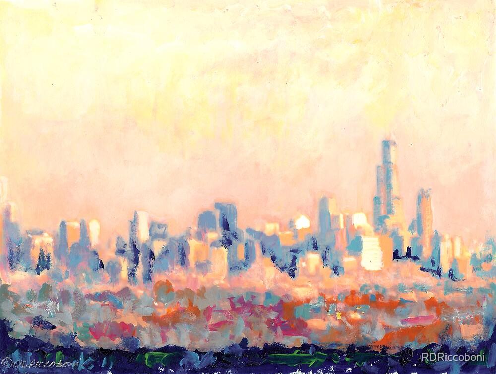 Chicago Abstract Impressionist Skyline  by RDRiccoboni