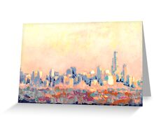 Chicago Abstract Impressionist Skyline  Greeting Card