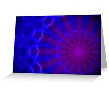 Geometric blue and purple radial pattern Greeting Card