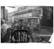 Passers-by and London Bus Poster