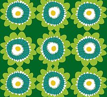 Retro flowers - green by laurathedrawer