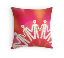 glowing iconic human silhouettes holding their hands Throw Pillow