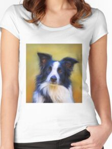 Taj - Border Collie Women's Fitted Scoop T-Shirt