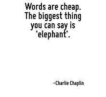 Words are cheap. The biggest thing you can say is 'elephant'. Photographic Print