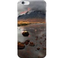 Sun sets behind Buachaille Etive Mor at Glencoe Scotland iPhone Case/Skin
