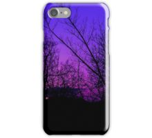 Violet sky and silhouette of tree iPhone Case/Skin