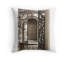 Charleston Door & Iron Gate in Sepia Throw Pillow