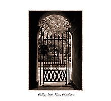 College of Charleston Gate View in Sepia Photographic Print