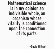 Mathematical science is in my opinion an indivisible whole, an organism whose vitality is conditioned upon the connection of its parts. by Quotr