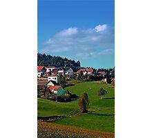 Rural hillside village panorama   landscape photography Photographic Print