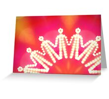 glowing iconic human silhouettes holding their hands Greeting Card