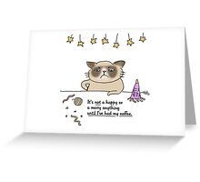 Nor happy or merry til I got my coffee - Grumpy / Cat doodle Greeting Card