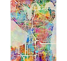 Seattle Washington Street Map Photographic Print