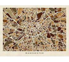 Manchester England Street Map Photographic Print