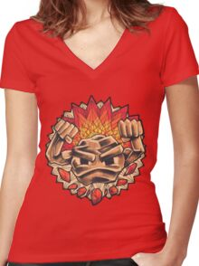 Geodude` Women's Fitted V-Neck T-Shirt