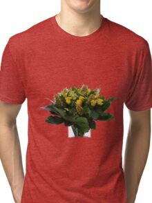 Yellow flower bouquet On white background  Tri-blend T-Shirt