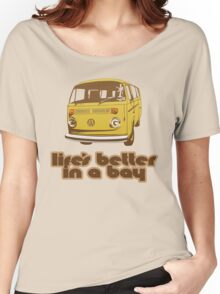 Volkswagen Kombi Tee shirt - Life's Better in a Bay - Yellow Women's Relaxed Fit T-Shirt
