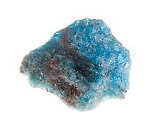 Cutout of a blue apatite gemstone on white background Photographic Print