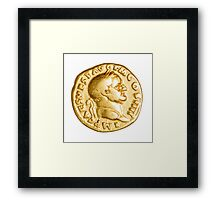 The Emperor and Nike. Roman gold coin  Framed Print