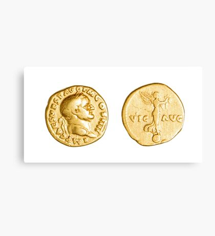 The Emperor and Nike. Roman gold coin  Canvas Print