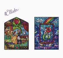 Stained Glass Mini Sticker Pack - Beauty and the Beast & Ariel by Ellador
