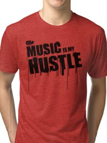 ghettostar music hustle BLACK Tri-blend T-Shirt