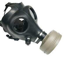 Cutout of a Gas Mask on white background side view,  by PhotoStock-Isra