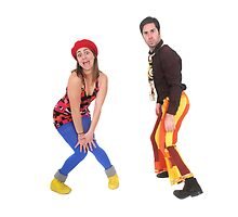 comic 70s style couple disco dancing  by PhotoStock-Isra