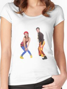 comic 70s style couple disco dancing  Women's Fitted Scoop T-Shirt