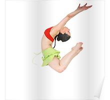 Young female modern dancer On white Background Poster