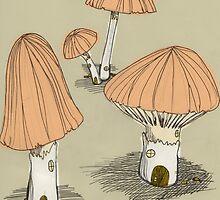 Mushroom Houses by sarahelise