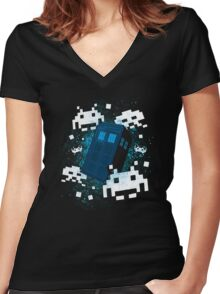 Invaders of Space and Time Women's Fitted V-Neck T-Shirt