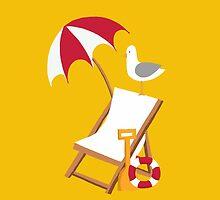 Block Yellow Seagulls by Georgia Fearnley